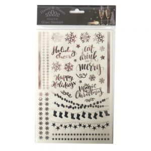 Harvey & Mason Christmas Silver Glass Stickers