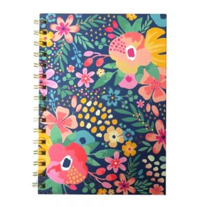 Hello Flower A5 Wiro Notebook Watercolour Floral Front