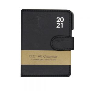 A6 2021 Premium Organiser Diary Black Front