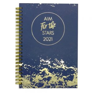 2021 A5 Fashion Organiser Diary Aim for The Stars Front