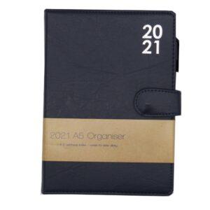 A5 2021 Premium Organiser Diary Dark Blue Front