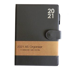 A5 2021 Premium Organiser Diary Grey Front