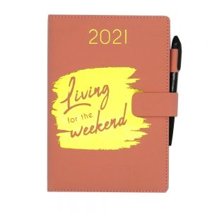 A5 2021 Premium Organiser Diary Pink Live for the Weekend Front