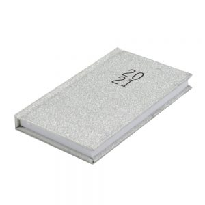 2021 Pocket Glittered Organiser Diary Silver Sparkle Front 2