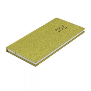 2021 Slim Glittered Organiser Diary Gold Front 2
