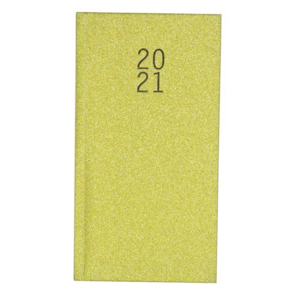 2021 Slim Glittered Organiser Diary Gold Front