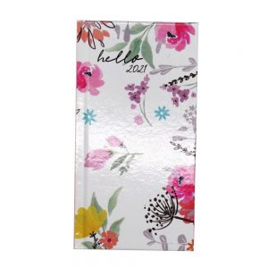 2021 Slim Floral Organiser Diary White Front