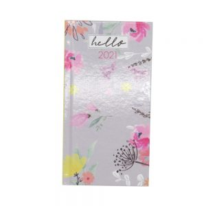2021 Slim Floral Organiser Diary Green Front
