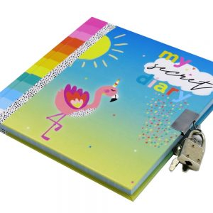 Girls Secret Lock and Key Diary Summer Flamingo Front 2