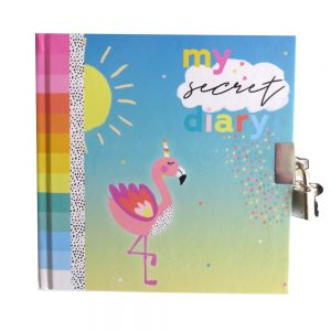 Girls Secret Lock and Key Diary Summer Flamingo Front