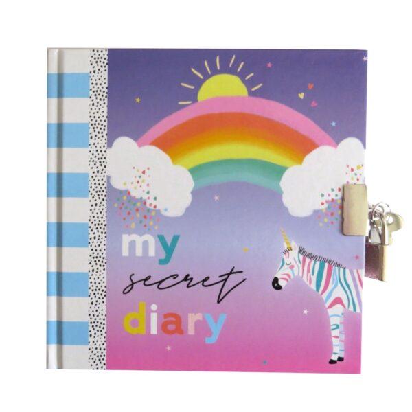 Girls Secret Lock and Key Diary My Rainbow Day Front 2