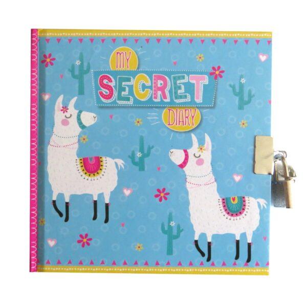 Girls Secret Lock and Key Diary LLama Dance Front