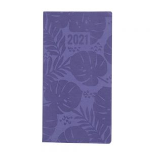 2021 Embossed Slim Diary Purple Leaf Front