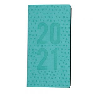 2021 Embossed Slim Diary Green Dot Front