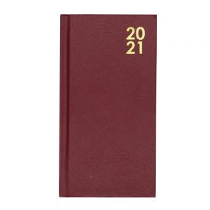 2021 Hard Cover Slim Diary Burgundy Front