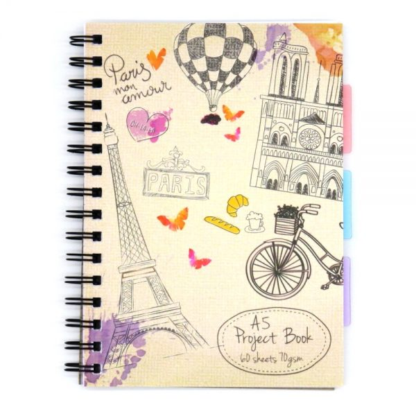 A5 Project Subject Notebook Vintage Paris Front