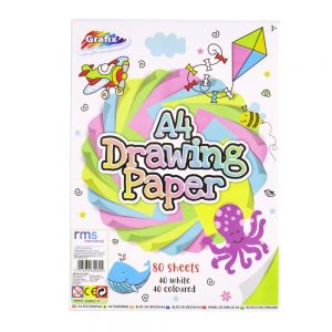 Grafix A4 White and Coloured Drawing Paper 80 Sheets Front
