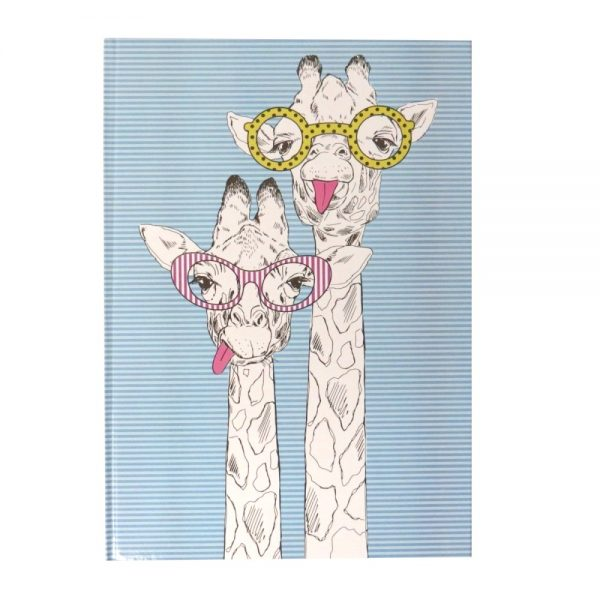 A4 Hard Cover Party Animals Notebook Giraffe Selfie Front
