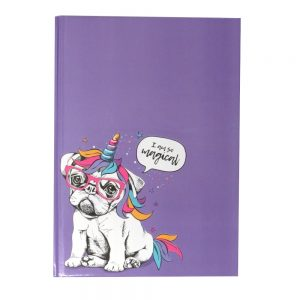 A4 Hard Cover Party Animals Notebook Party Pug Front