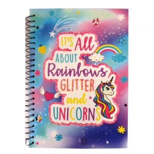 A5 Wire Notebook - Unicorn and Rainbows - Front
