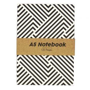 A5 Black and White Notebook Geo Lines - Front