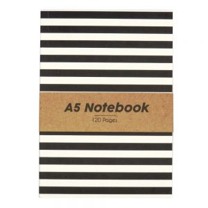 A5 Black and White Notebook Stripes - Front