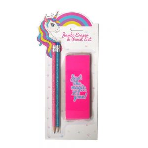 Unicorn Glitter Pencils and Eraser Set Front