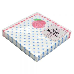 Paper Napkins Pink Hearts Front 2
