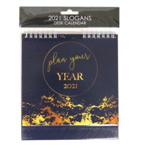 2021 Slogans Desk Standing Calendar Plan Your Year Front
