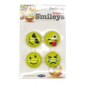 Smiley Erasers 23315 Pack of 4 Front