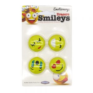 Smiley Erasers 23322 Pack of 4