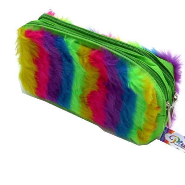 Twin Zip Plush Rainbow Pencil Case Front 2