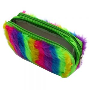 Twin Zip Plush Rainbow Pencil Case Front 3