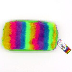 Twin Zip Plush Rainbow Pencil Case