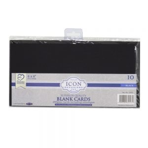 Icon Black Blank Scored Cards with Envelopes
