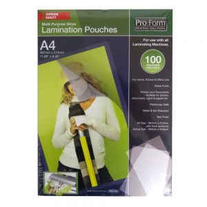 Pro Form A4 Laminating Pouches 100 Pack