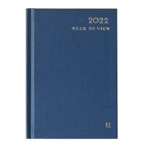 2022 A6 Week to View Diary D Blue Front