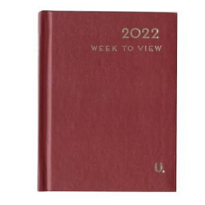 2022 Pocket Week to View Diary Burgundy Front