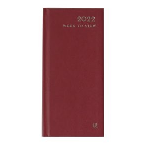 2022 Slim Week to View Diary Burgundy Front