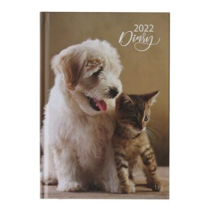 2022 A5 Week to View Diary Puppy Kitten Front
