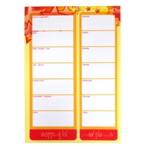 shopping list meal planner stars design