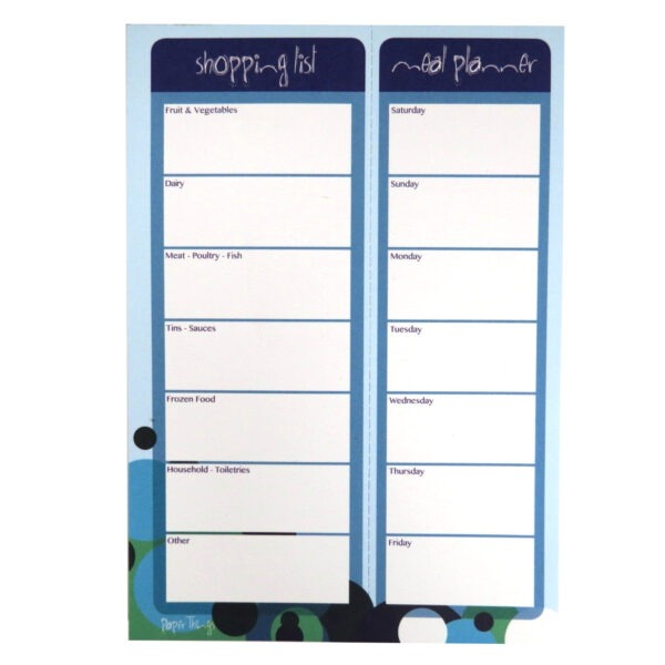 A5 Shopping List Meal Planner Notepad Spots