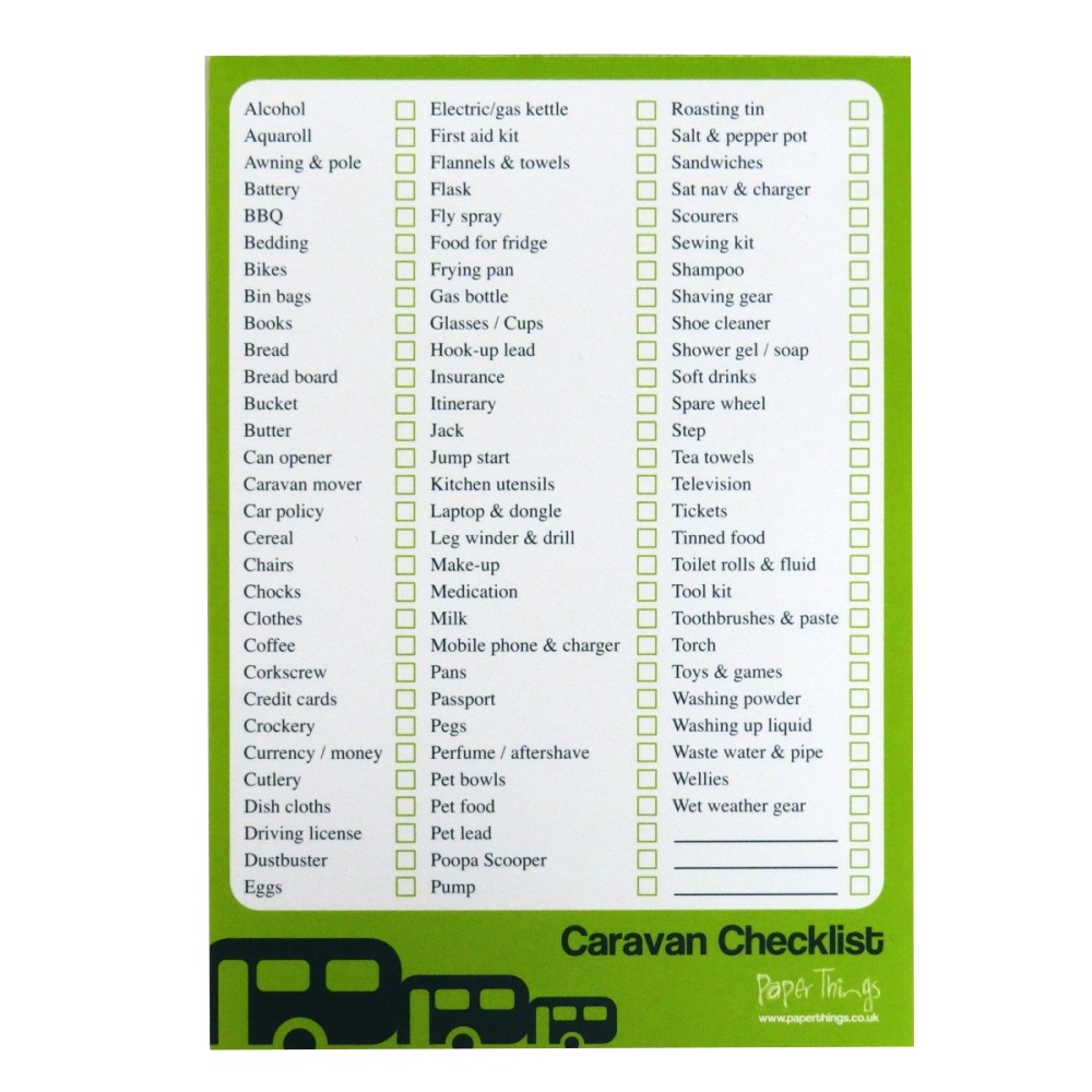 A5 Caravan / Camping Checklist and Planner