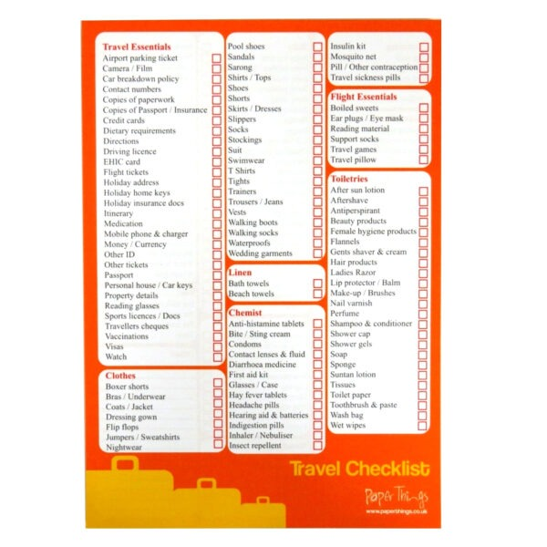 Travel Holiday Checklist Planner Notepad