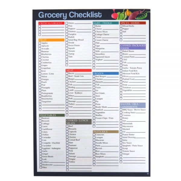 Paper Things A5 Grocery Checklist Front