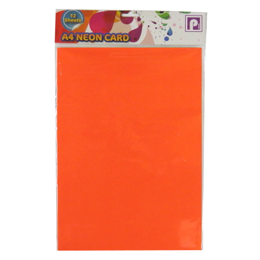 A4 Bright Flourescent Neon 12 Sheet Card Pack Fluorescent Sheets Arts Crafts