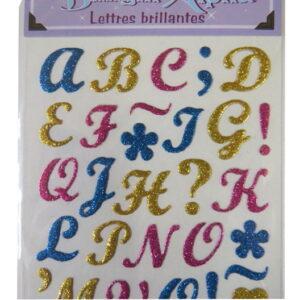 Glitter Raised Alphabet Italics, Numbers & Grammar Stickers - Pink, Teal & Gold