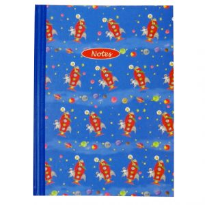 A4 Hard Cover Notebook - Milly Green, Outer Space Design