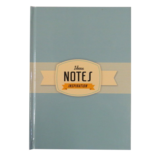 A5 Hard Cover Retro Notebook - Inspiration Design - Pale Blue