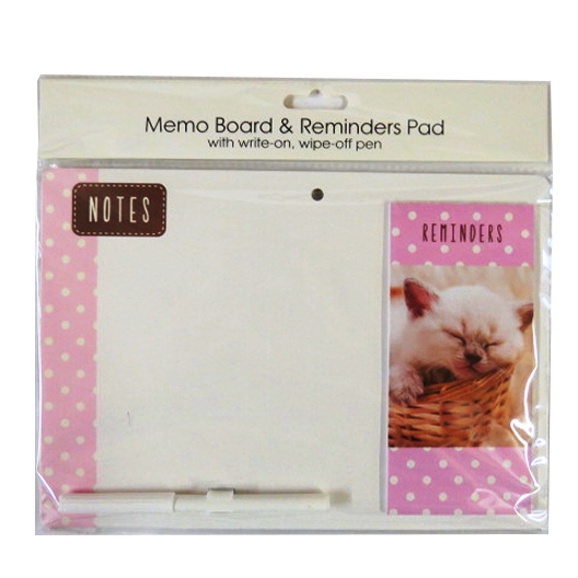 Magnetic Message Board with Attached Reminder Pad and Pen - Kitten